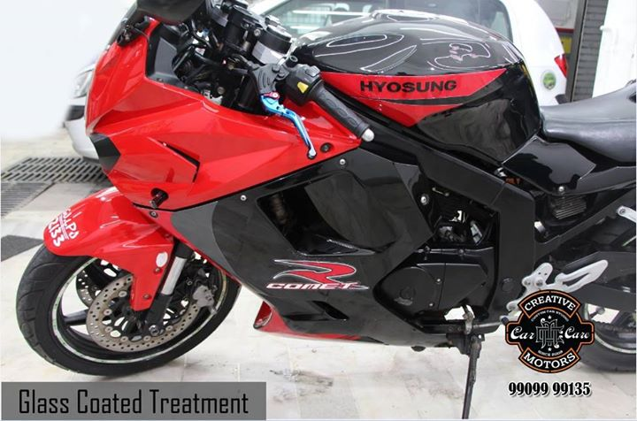 ''Glass Coated Bike'' - When it comes to looking after your motorbike, Our Glass Coated Treatment can provide you with amazing levels of exterior protection in a way that nothing else will do.  Refresh your vehicle @  'Creative Motors'  Tel/Whatsapp : +91-99099 99135 or 079 26421200  Add :- 1&2, Ground Floor. Urvashi Complex, Mithakhali Cross roads, Navrangpura, Ahmedabad, India 380009