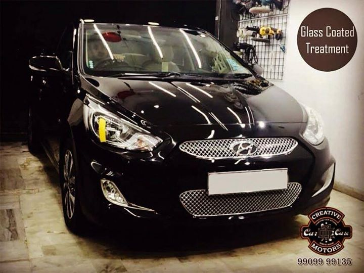 The owner of this Hyundai Verna is glad that his 1.5 years OLD car shines so differently after our Glass Coated Treatment so that we can show to everyone.The car shines best outdoors and under the hot sun (wherever there is ample light).  Tel/Whatsapp : +91-99099 99135 or 079 26421200  Add :- 1&2, Ground Floor. Urvashi Complex, Mithakhali Cross roads, Navrangpura, Ahmedabad, India 380009