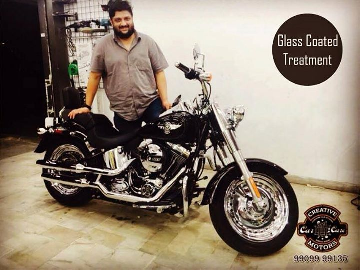 A #Harley Fat Boy gets the best detailing experience at 'Creative Motors'...  Our Glass Coated Treatment can provide you with amazing levels of exterior protection in a way that nothing else will do.  Refresh your vehicle @ 'Creative Motors'  Tel/Whatsapp : +91-99099 99135 or 079 26421200  Add :- 1&2, Ground Floor. Urvashi Complex, Mithakhali Cross roads, Navrangpura, Ahmedabad, India 380009