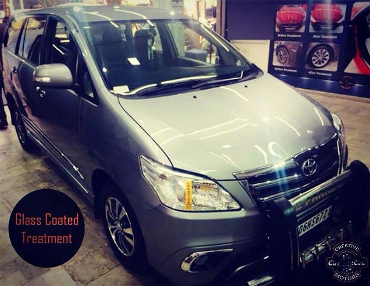 A #Toyota #Innova Glass Coated at 'Creative Motors'. Get a high class protection for your paint, plastics, metal and more at the best detailers in town.  Get in touch with us today and give your car that shine it deserves.   Tel/Whatsapp : +91-99099 99135 or 079 26421200  Add :- 1&2, Ground Floor. Urvashi Complex, Mithakhali Cross roads, Navrangpura, Ahmedabad, India 380009