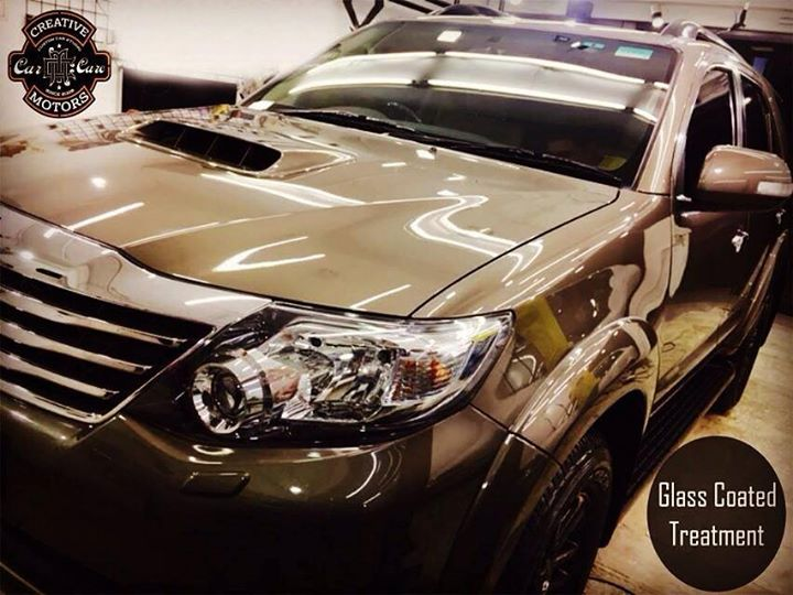 A NEW #Fortuner came to us to get a Glass Coated Treatment and got premium protection on its paint, metal and plastics AND leather from the harshest attacks- even chemicals/acid. For used cars, we enhanced its appearance after our treatment too.  If you are convinced and keen to engage us, please feel free to contact us as follow :  Tel/Whatsapp : +91-99099 99135 or 079 26421200  Add :- 1&2, Ground Floor. Urvashi Complex, Mithakhali Cross roads, Navrangpura, Ahmedabad, India 380009