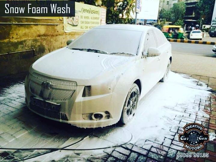 Come down to 'Creative Motors'! The weather is nice it's time to treat your car to a snow foam wash...Clean your car with powerful snow!    The Ultimate Car Detailing Solution for all the car lovers in Ahmedabad.  Tel/Whatsapp : +91-99099 99135 or 079 26421200  Add :- 1&2, Ground Floor. Urvashi Complex, Mithakhali Cross roads, Navrangpura, Ahmedabad, India 380009