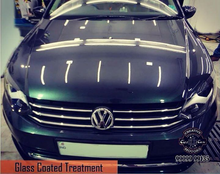 One photo to summarize the results of Glass Coated Treatment on a #Volkswagen #Vento . Do you like the #gloss?  Tel/Whatsapp : +91-99099 99135 or 079 26421200  Add :- 1&2, Ground Floor. Urvashi Complex, Mithakhali Cross roads, Navrangpura, Ahmedabad, India 380009