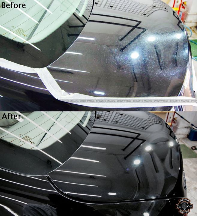 Before After Pictures of Paint Surface of Mercedes E 250 's Back Fender & Trunk   Price Range - 5400rs to 9500rs  Call / WhatsApp - 99099 99134  #Detailing #ceramiccoating #creativemotors #lawgarden #ahmedabad
