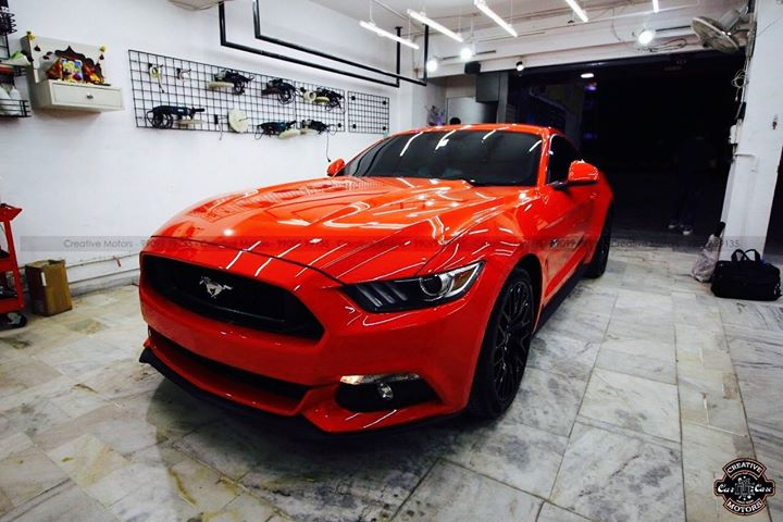 Ford Mustang got 'Diamond Coated'  We make Cars Look Better Than New... Trust me. The actual car looked more stunning than in the photo. Available at Creative Motors Ahmedabad, the ONLY #internationally #certified #detailing unit for