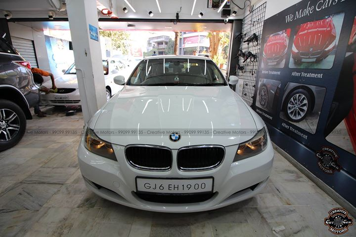 BMW 3 series got Glass Coated  Removes Minor Scratches & Gives Additional Gloss, makes Cleaning Easy , Water & Dust Repellant  Creative Motors Ahmedabad 99099 99135  #carwash #cardetailing #ahmedabad #ceramic #glasscoating #bmw #qualityovereverything