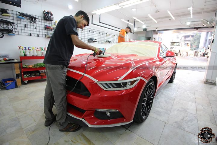 Gujarat's First Car - Ford Mustang GTR  Mr. Nishu Dogra's Car  Whenever you buy a Brand New car , it has Minor Scratches on the Paint... We refine all the Minor Scratches and Give Paint Enhancement which results into More Shine & Protection against Scratches...  Precaution is better than Cure  'Diamond Coated' Exclusively done on this Beauty + Wheel OFF Coating Services - Alloys - Got Special Ultra Hard Coat  #cardetailing #highendcardetailing #ahmedabad #ceramiccoating #glasscoating #Original #Permanent #protection #India #Super #worldno1 #superhydrophobic #Diamond #proud #proudmoments #Mercedes #Ahmedabad #Rajkot #Qualityovereverything #Ford #Mustang  New Centre at 1. Opp. Karnavati Club , SG Highway Ahmedabad. 2. Amin Marg, Rajkot.  3. Mithakhali Six Roads, Navrangpura, Ahmedabad.  Live Stories Instagram @ creativemotors Snapchat @ creativemotors  Pre-Bookings will be done on 99099 99134/35