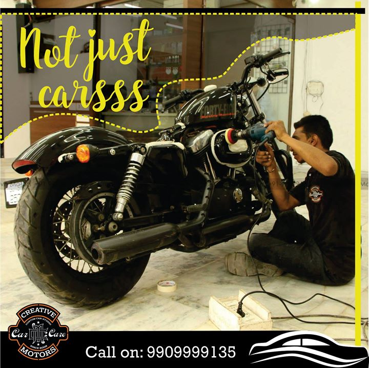 And we are not just into cars... Your Bikes need equal care through professionals! Get your bikes professionally cleaned with equipment's and get them detailed too !! Pre book appointments on 9909999135