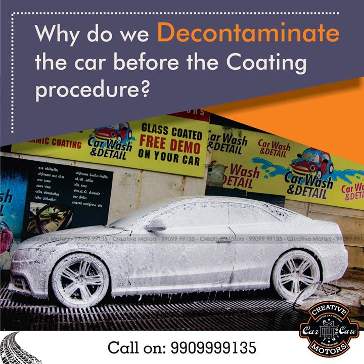 Decontaminating a car's paint finish is an often overlooked detailing step yet very necessary to achieving a flawless finish. The exterior automotive detailing and pre coating process consists of a thorough initial washing/decontamination that will remove any existing sacrificial protection (any prior existing wax or sealant) plus any basic paint contamination (dirt, dust, grime, etc.).   Pre book appointments on 9909999135