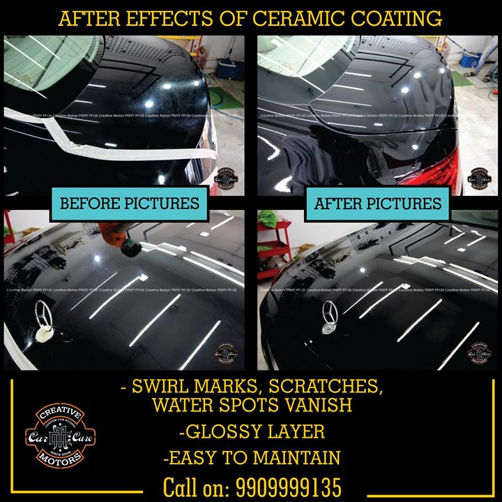 Ceramic Coating provides a transformational change to your car which are clearly visible. We at CREATIVE MOTORS give you #ValueForMoney services and #GoodQuality #services  FEATURES OF CERAMIC GLASS COATED :  ♦️100% Original & Patented Product from 'Creative Motors' ♦️Highly Glossy Layer ♦️Immediate Paint Protection ♦️Cost-Effective Solution ♦️Remove Hairline Scratches & Water-spots ♦️Ease of Maintenance  ♦️No need to Wax and Polish again ♦️Strong After-Sale Support & Free Advice ♦️Save time, Effort and Money  Call or Whatsapp : +91-99099 99135  #creativemotors #caraccessories #cardetailing #carspa #microdetailing #GlassCoatedTreatment #glasscoated #carfoamwash #foamwash #ceramiccoatings #coatings  #glasscoatings #waterrepellant #scratchproof #minicooper #supercars #Rajkot #ahmedabad