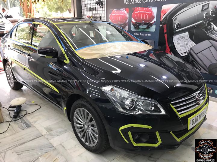 Before & Process Pictures of #Ciaz #black getting Ceramic Glass Coating   After Pics will be Posted soon   Book your Slots on 99099 99135  #ciaz #black #ceramiccoating #detailing #ahmedabad