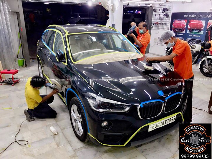 #Bmw #X1 #Black got the #Best #Ceramic Treatment at ''#Creative #Motors''       Process Picture & After Pictures will be posted soon..  #Ceramic Coat #Benefits:   ♦Gives Additional Gloss/Shine  ♦Protects Paint from Fading  ♦No Ageing Effect  ♦Removes Hairline Scratches & Water-spots ♦Water & Dust Repellent   ♦Easy to Clean & Maintain  ♦No need to Wax and Polish again  ♦Scratch Resistant upto 9H Hardness  ♦3 Year  Protection in 3 hours    Call or Whatsapp : +91 99099 99135    Follow us on instagram: www.instagram.com/creativemotors    Add:  Creative Motors Ahmedabad     GF 1,2 Urvashi Complex,  Nr. Calcutta Motors, Mithakhali Six Roads, Law Garden Road, Navrangpura, Ahmedabad        9909999135   #creativemotors #bikes #bikers #Cars #carspa #microdetailing #ceramiccoatings #coatings  #glasscoatings #waterrepellant #scratchproof #minicooper #supercars #Rajkot #ahmedabad #Jeep #compass #qualityovereverything