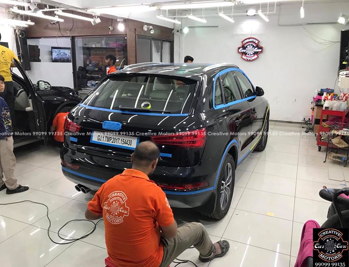 "#Audi #Q3 getting treated at ""Creative Motors Ahmedabad - Mithakhali ""  #Benefits:  - Scratch Resistant  - Easy to Clean & Maintain  - High Glossy Shine  - Highly Durable   Creative Motors Ahmedabad   GF 1,2 Urvashi Complex,   Nr. Pantaloons (CG Road) Mithakhali Six Roads,  Law Garden Road,  Navrangpura,  Ahmedabad          9909999135   #creativemotors  #microdetailing #ceramiccoatings #coatings  #glasscoatings #waterrepellant #scratchproof #supercars #Rajkot #ahmedabad #qualityovereverything #aud #Q3"