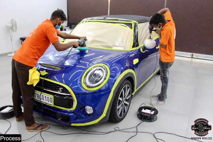 #Ceramic #Coating on #Mini #Cooper at Creative Motors Thaltej  Before | Process | After - Photos Attached in the Post 👇  Benefits of Ceramic Coating👇 🔺9H Hardness coat 🔺Remove swirl marks 🔺Weather Resistance 🔺Mirror finish 🔺UV rays 🔺Water & Dust Repellent  #specialistforceramiccoating  Address:  Creative Motors Ahmedabad GF 12,13 ZION Prime, Near Bagban Party Plot, Off SindhuBhavan Road, Thaltej - Shilaj Road, Ahmedabad  ☎️ Call or Whats App - +91 99099 99137  #highend #cardetailing #carwash #creative #motors #details #detailsmatter #luxury #luxuriouscars #shine #automobile #standout #live #pictures #reality #ahmedabad #carlove #qualityovereverything