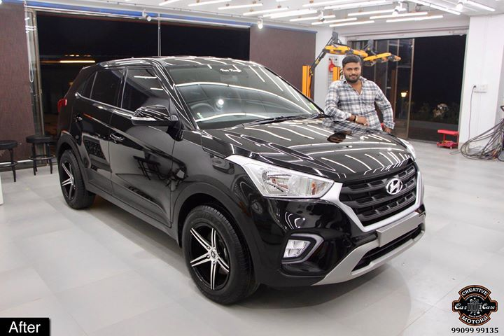 #Ceramic #Coating on #Hyundai #Creta #Black at Creative Motors Ahmedabad  After Pictures with Client & Process Photos 👇  Benefits of Ceramic Coating👇 🔺9H Hardness coat 🔺Removes swirl marks 🔺Weather Resistance 🔺Mirror finish 🔺Avoids UV rays 🔺Water & Dust Repellent 🔺Easy to Clean & Maintain  #specialistforceramiccoating  Address:  Creative Motors Ahmedabad GF 12,13 ZION Prime, Near Bagban Party Plot, Off Sindhu Bhavan Road, Ahmedabad & Creative Motors Ahmedabad Gf - 1,2 Urvashi Complex, Mithakhali Six Roads, Ahmedabad  ☎️ Call or Whats App - +91 99099 99135  #ceramiccoating #glasscoating #bestcoating #nanocoating #9hceramiccoating #Qualityovereverything #Bestornothing