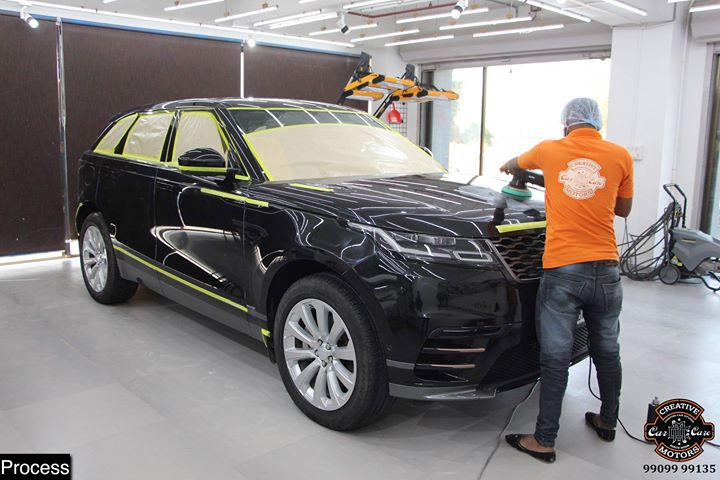 #Ceramic #Coating on #Range #Rover #Velar at Creative Motors Ahmedabad  Before | Process | After Pictures in the Post 👇  Benefits of Ceramic Coating👇 🔺9H Hardness coat 🔺Removes swirl marks 🔺Weather Resistance 🔺Mirror finish 🔺Avoids UV rays 🔺Water & Dust Repellent 🔺Easy to Clean & Maintain  #specialistforceramiccoating  Address:  Creative Motors Ahmedabad GF 12,13 ZION Prime, Near Bagban Party Plot, Off Sindhu Bhavan Road, Ahmedabad  ☎️ Call or Whats App - +91 99099 99137  #ceramiccoating #glasscoating #bestcoating #nanocoating #9hceramiccoating #Qualityovereverything #Bestornothing