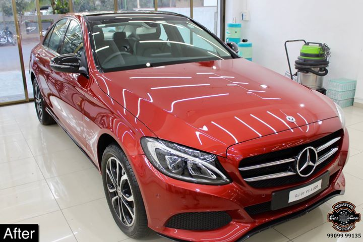 #Mercedes #c220d getting its Paint protected by #Ceramic #Coating 🔥  Minor Scratches Removed, Ceramic Coating Applied which will last up to 3 years, & will Become Scratch Resistant up to 9H Hardness ✅, Easy to Clean & Maintain.  Carefully 👀Check Before & After Pictures 📸 mentioned in the Post   #specialistforceramiccoating  Our Branches: 📌 1. Zion Prime, Thaltej-Shilaj Rd. Ahmedabad. 2. Urvashi Complex, Law Garden Rd, Ahmedabad. 3. Akshar Marg-Amin Marg, Rajkot.  India 🇮🇳  Creative Motors®️ Website 💥 : www.creativemotors.in Youtube 🎥 : www.youtube.com/creativemotors  For Bookings/Query : ☎️Call: +91 99099 99135  📱Call: +91 99099 99134  #creativemotorsahmedabad🔝 #cardetailing #highendcardetailing #ahmedabad #ceramiccoating #glasscoating #Original #Permanent #protection #India #Super #worldno1 #superhydrophobic #Diamond #proud #proudmoments #Mercedes #Ahmedabad #Rajkot #Qualityovereverything