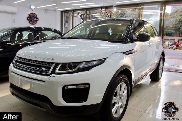 #RangeRover #Evoque getting its Paint protected by #Ceramic #Coating 🔥  Minor Scratches Removed, Ceramic Coating Applied which will last up to 3 years, & will Become Scratch Resistant up to 9H Hardness ✅, Easy to Clean & Maintain.  Carefully 👀Check Before & After Pictures 📸 mentioned in the Post  #specialistforceramiccoating  Our Branches: 📌 1. Zion Prime, Thaltej-Shilaj Rd. Ahmedabad. 2. Urvashi Complex, Law Garden Rd, Ahmedabad. 3. Akshar Marg-Amin Marg, Rajkot.  India 🇮🇳  Creative Motors®️ Website 💥 : www.creativemotors.in Youtube 🎥 : www.youtube.com/creativemotors  For Bookings/Query : ☎️Call: +91 99099 99135  📱Call: +91 99099 99134  #creativemotorsahmedabad🔝 #cardetailing #highendcardetailing #ahmedabad #ceramiccoating #glasscoating #Original #Permanent #protection #India #Super #worldno1 #superhydrophobic #Diamond #proud #proudmoments #Mercedes #Ahmedabad #Rajkot #Qualityovereverything