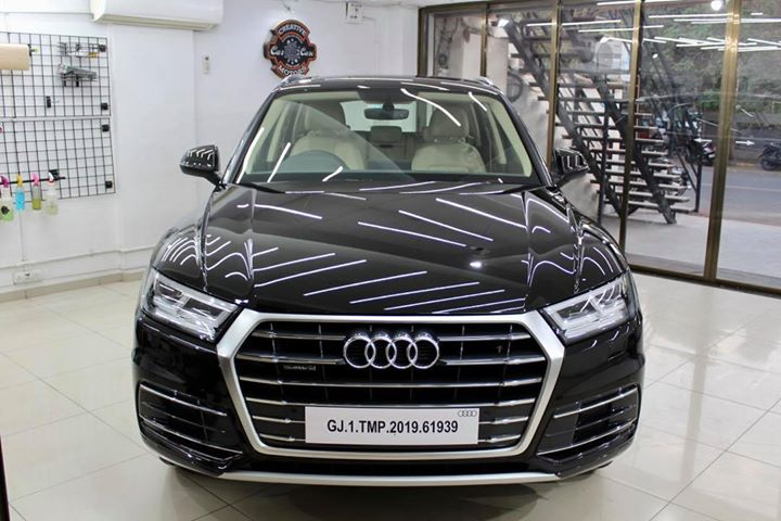 #Audi #Q5 getting its Paint protected by #Diamond #Coating 🔥    Minor Scratches Removed, Ceramic Coating Applied which will last up to 5 years, & will Become Scratch Resistant up to 9H Hardness ✅, Easy to Clean & Maintain.    Carefully 👀Check Before & After Pictures 📸 mentioned in the Post    Benefits of Ceramic Coating👇  🔺9H Hardness coat  🔺Remove Swirl marks  🔺Weather Resistance  🔺Mirror finish  🔺Avoids UV rays  🔺Water & Dust Repellent    #specialistforceramiccoating    Our Branches: 📌   1. Zion Prime, Thaltej-Shilaj Rd. Ahmedabad. 2. Urvashi Complex, Law Garden Rd, Ahmedabad.  3. Akshar Marg-Amin Marg, Rajkot.  India 🇮🇳    Creative Motors®️   Website 💥 : www.creativemotors.in  Youtube 🎥 : www.youtube.com/creativemotors    For Bookings/Query :  ☎️ 📱Call: +91 99099 99134