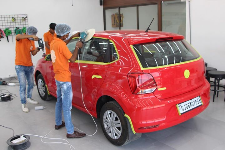 Ceramic Coating in Process  Volkswagon Polo  Creative Motors Ahmedabad & Rajkot 9909999135
