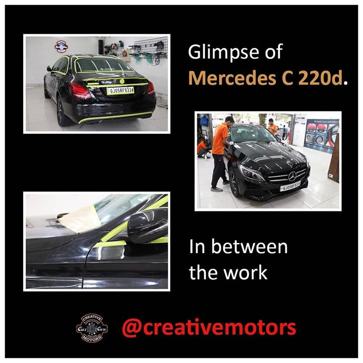 Hey Guys,  - This is beast itself. - Mercedes C 220d.  - Yes, We do Ceramic Coating and Interior Cleaning for Premium cars too.  - Here you can see Glimpse of In between work and After work. - It is very shiny after work. @ Creative Motors Thaltej
