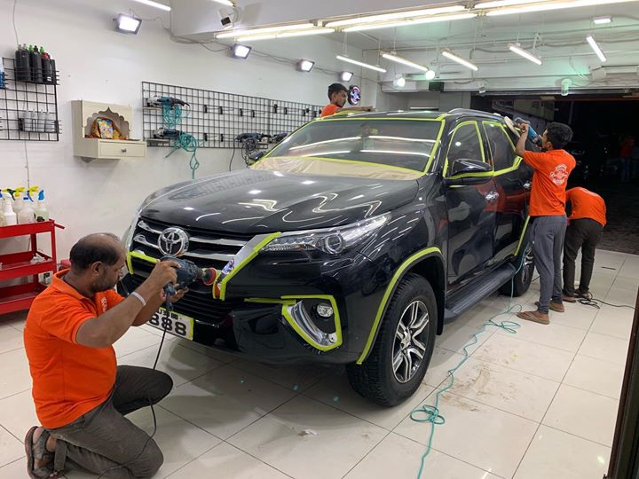 Ceramic Coating on Toyota Fortuner   Work in Process   For Inquiries Call-9909999135  #ceramiccoating #glasscoating #nanoceramiccoating #ahmedabad #rajkot #creativemotors