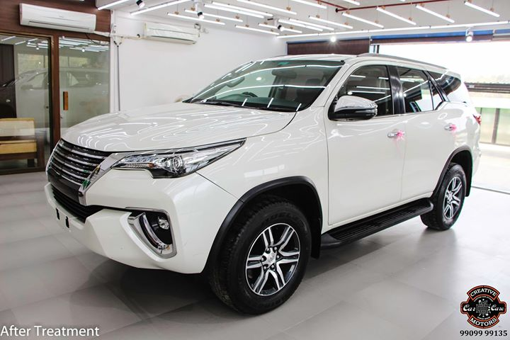 Ceramic Coating on Toyota Fortuner 🔥  Benefits of Ceramic Coating 👇 ✅9H Hardness coat ✅Remove Swirl marks ✅Weather Resistance ✅Mirror finish ✅Avoids UV rays ✅Water & Dust Repellent  Get the Best Ceramic Coating For your Car Today  Call-  ☎️ 9909999135 or Visit-www.creativemotors.in  #creativemotors #ceramiccoating #glasscoating #bestornothing #Gujaratno1 #cardetailing