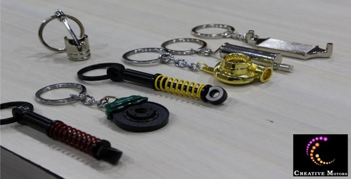 The cool key-chain that we attach to our keys often serve two purposes : they add personality to our keys and help us find them more easily...  Come to Creative Motors for wide range of Variety n Style. Call #Creativemotors on +91-9909999135  #Suspension #Piston #Silencer #GoldTurbo #Radiator #DiscBrakes