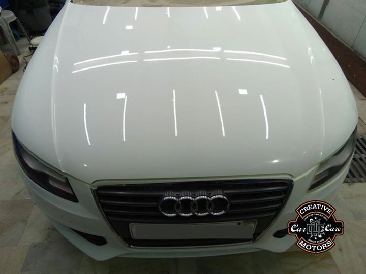 This 2-year old AUDI has just received a fresh coat of paint on its front bonnet while the rest of the car looked a bit dull. Its owner decided to send it to us for GLASS COAT treatment so that we can bring back the glossy look.  Old or new, we carefully examined the condition of each car paintwork and then using high quality compound to polish, restore and then sealed in the shine and color using our GLASS COAT TREATMENT.  Book Your car now on +91-99099 99135...  Add :- 1&2, Ground Floor. Urvashi Complex, Mithakhali Cross roads, Navrangpura, Ahmedabad, India 380009