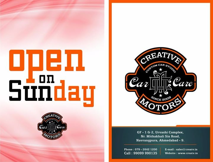 It's that time of the season.   >>> #Sunday is on the way. Like our page. We been busy with a good load of stuff to entice you.  Visit 'Creative Motors' for join our Live demo for Car Spa and other treatment.  Book your appointment now @ +91 99099 99135 or  079 26421200 Add :- 1&2, Ground Floor. Urvashi Complex, Mithakhali Cross roads, Navrangpura, Ahmedabad, India 380009