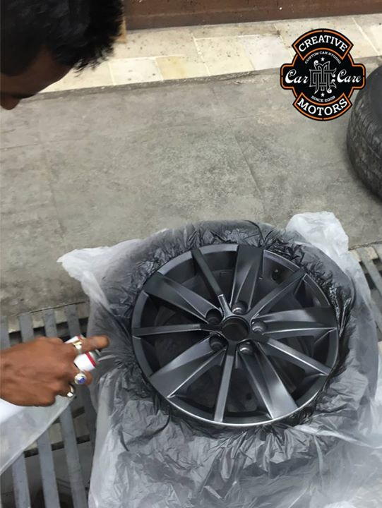 Have you been thinking about #painting #alloywheels ??? Would you like to give your alloy wheels a #facelift ???   When you buy alloys they tend to be silver. Who was it that decided that silver went with any color car? For that, little extra money you can have the #alloys colored to better match or contrast the car color.  Here, 'Creative Motors' can personalize your alloy wheels for a fraction of the cost of a new set.  For those who are interested about our services, We would like to offer a #Livedemo on our own place.  Ring On >>> +91 99099 99135 or 079 26421200 Add :- 1&2, Ground Floor. Urvashi Complex, Mithakhali Cross roads, Navrangpura, Ahmedabad, India 380009