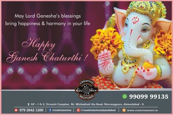 May Lord Ganesha's blessing bring happiness & harmony in your life.  Happy Ganesh Chaturthi  - Team Creative Motors