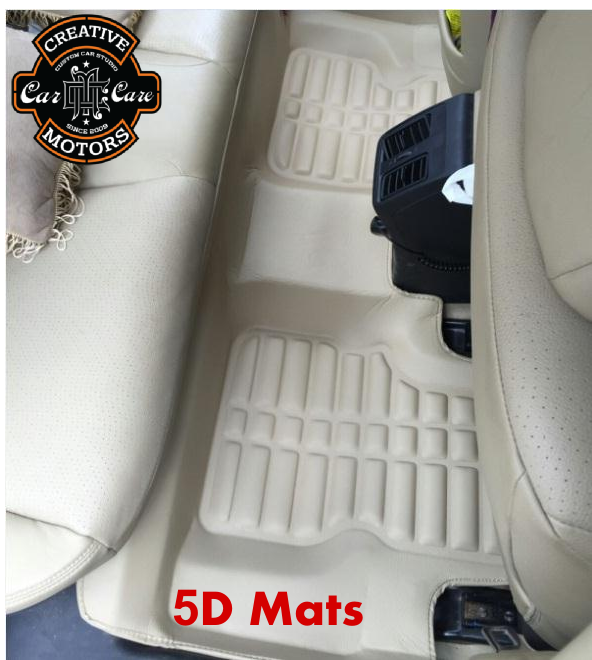 New 5 Dimension design #Mats For all cars.  Fits the floor perfectly with raised edge, keep the car's original floor carpet clean.Rich Leather Finish which gives plush look to the car.  Make your car Stylish @ 'Creative Motors'  We are here to listen you +91-99099 99135 or 079 26421200  Add :- 1&2, Ground Floor. Urvashi Complex, Mithakhali Cross roads, Navrangpura, Ahmedabad, India 380009