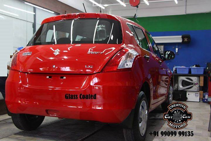 Our Glass Coated treatment assists in preventing and reducing the accumulation of environmental contaminants such as dust, mud, dirt, oils, scale, bird droppings, tree dirt and so on.  If you use glass coated treatment on your car, it will have that shiny showroom look.  Book you Car @  'Creative Motors' now.  Ring On >>> +91 99099 99135 or 079 26421200  Add :- 1&2, Ground Floor. Urvashi Complex, Mithakhali Cross roads, Navrangpura, Ahmedabad, India 380009