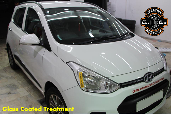 Who says white cars are hard to maintain?  Our Glass Coated treatment has been wiped clean your car, it exhibits a special gloss that can be found on actual glass.  If you are keen to send your car to us for treatment, please contact us early to make a booking.  Ring On >>> +91 99099 99135 or 079 26421200  Add :- 1&2, Ground Floor. Urvashi Complex, Mithakhali Cross roads, Navrangpura, Ahmedabad, India 380009