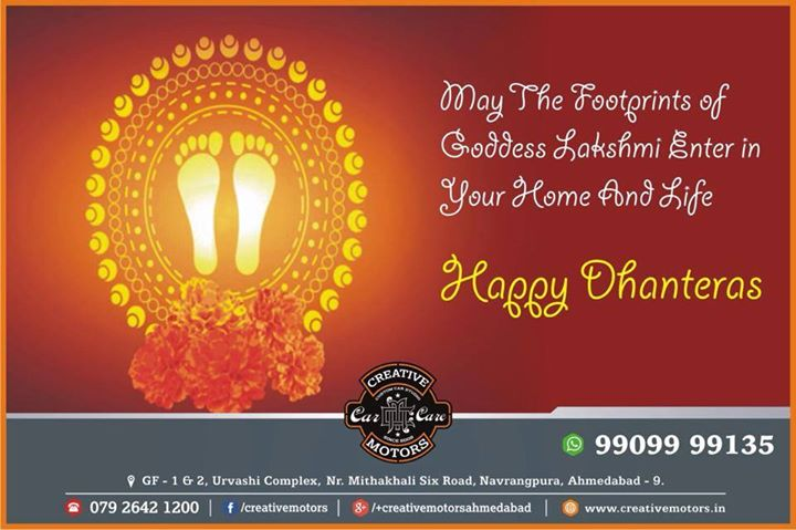 wishing you all a #HappyDhanteras. May this #dhanteras endow you with opulence and prosperity comes to your step and god fulfill all your deeds and you live a wealthy life.  Festive wishes to all our wonderful fans !!! - Team 'Creative Motors'
