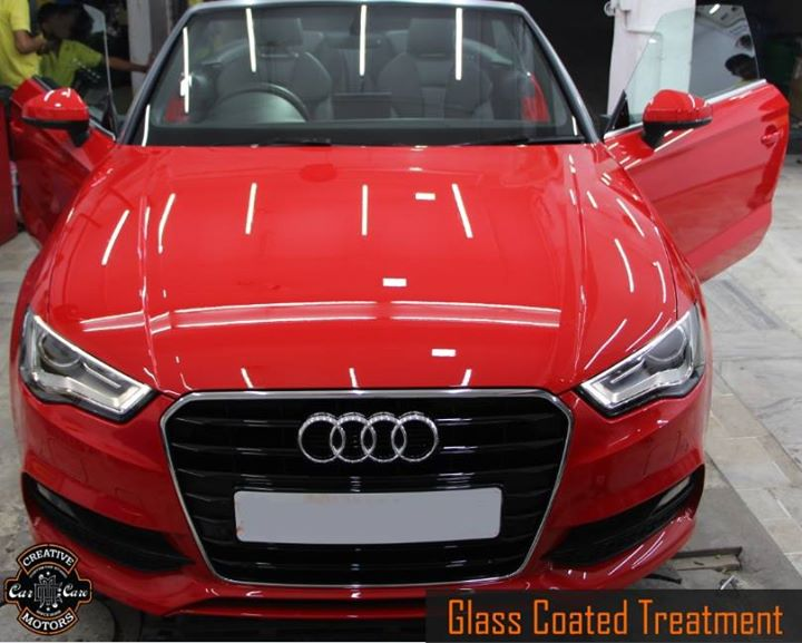 Looking really Glossilicious ! Took some pics,guess what the red thing is?  Glass on the road: not good,  Glass in your paint: great.  You know who to call for Glass Coated Treatment ? Right here at the World of #Gloss...  Tel/Whatsapp : +91-99099 99135 or 079 26421200  Add :- 1&2, Ground Floor. Urvashi Complex, Mithakhali Cross roads, Navrangpura, Ahmedabad, India 380009